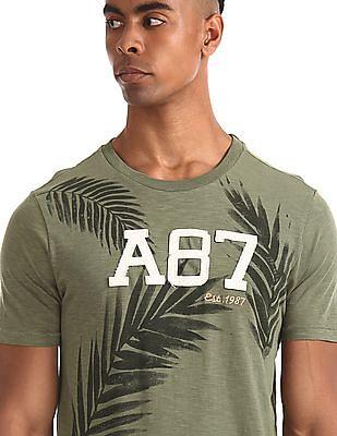 Aeropostale Green Crew Neck Printed T-Shirt