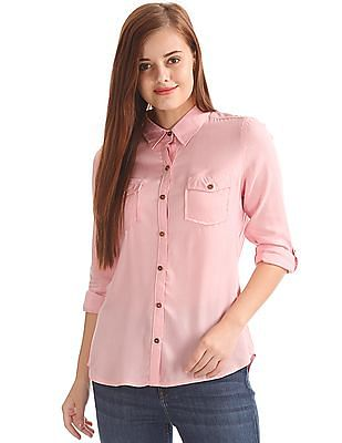 Flying Machine Women Relaxed Fit Viscose Shirt