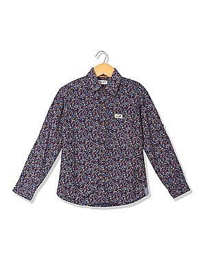U.S. Polo Assn. Kids Boys Spread Collar Printed Shirt