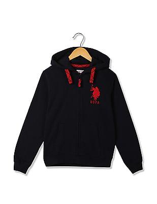 U.S. Polo Assn. Kids Boys Zip Up Hooded Sweatshirt