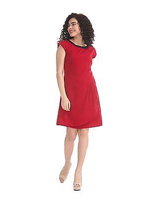 Elle Studio Red Embellished Neck Shift Dress