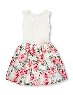 The Children's Place Girls Sleeveless Fit And Flare Dress