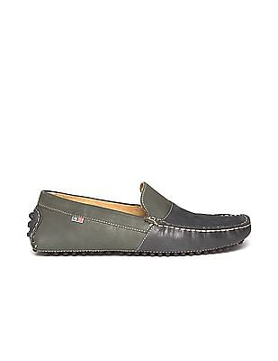 Arrow Colour Block Leather Loafers