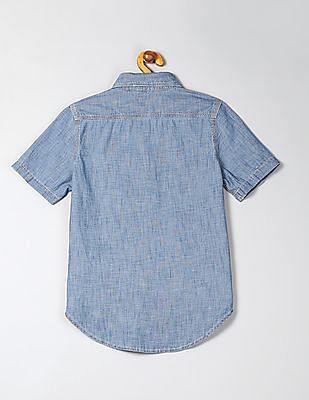 GAP Boys Chambray Short Sleeve Shirt