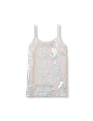 The Children's Place Girls White Sleeveless Sequin Tank Top