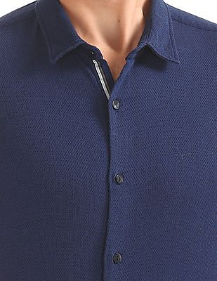 Flying Machine Slim Fit Textured Shirt