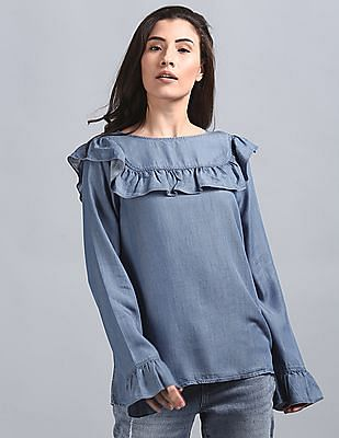 GAP Washed Denim Shirt With Yoke and Ruffle Detail