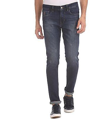 U.S. Polo Assn. Denim Co. Blue Brandon Slim Tapered Fit Distressed Jeans