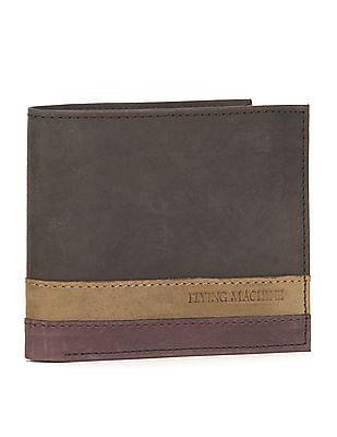 Flying Machine Contrast Panel Leather Bi-Fold Wallet
