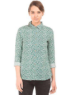 U.S. Polo Assn. Women Printed Linen Shirt