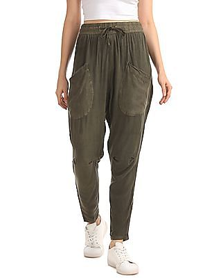 Elle Tapered Trousers With Zipper Hem And Anchored Tie Up