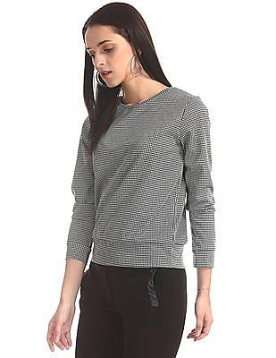 SUGR Black Crew Neck Houndstooth Pattern Sweatshirt