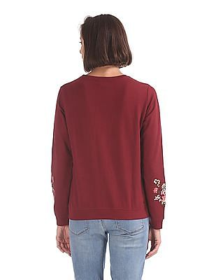Cherokee Crew Neck Embroidered Sweatshirt