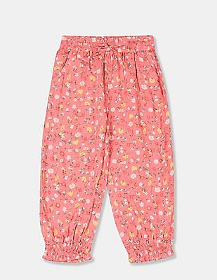 Cherokee Girls Pink Floral Print Pants With Headband