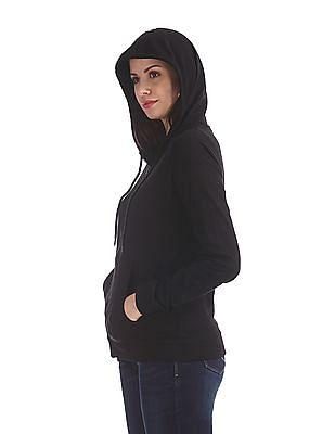 Cherokee Black Solid Hooded Sweatshirt