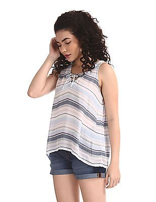 Aeropostale Blue Lace Up Patterned Striped Top