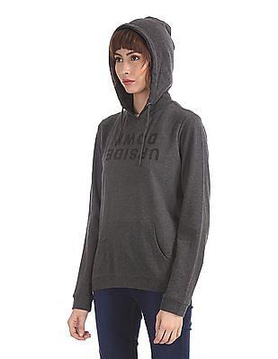 Flying Machine Women Grey Heathered Hooded Sweatshirt