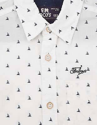 FM Boys Boys Sailboat Print Slim Fit Shirt