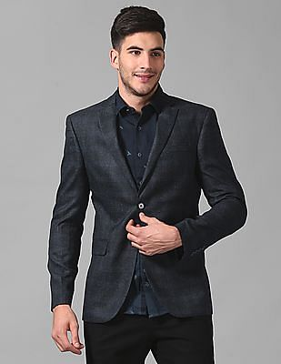 True Blue Single Breasted Patterned Weave Blazer