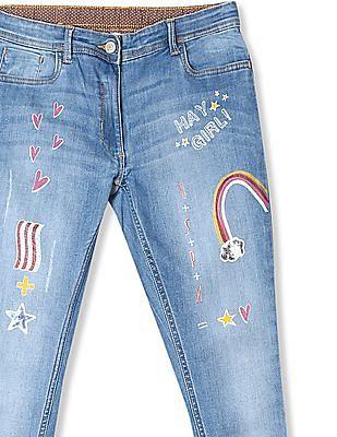 U.S. Polo Assn. Kids Blue Girls Stone Wash Printed Jeans