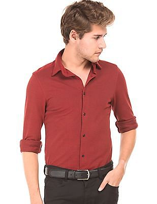 Arrow Newyork Textured Knit Slim Fit Shirt