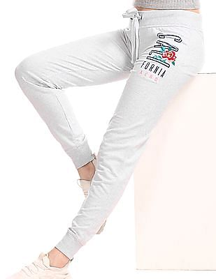 Aeropostale Grey Drawstring Waist Embroidered Front Joggers