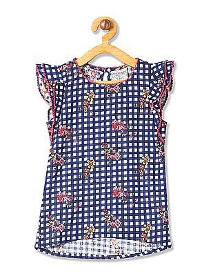 Cherokee Girls Ruffle Sleeve Check Top