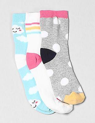 GAP Girls Rainbow Cloud Crew Socks (3-Pack)