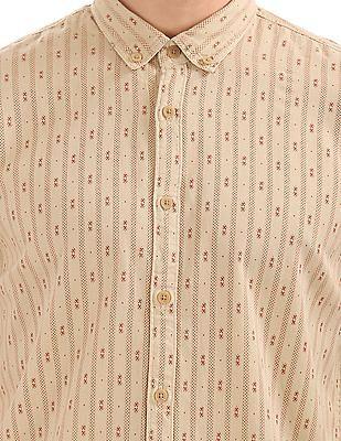 Cherokee Button Down Collar Printed Shirt