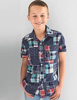 GAP Toddler Boy Blue Patchwork Short Sleeve Shirt