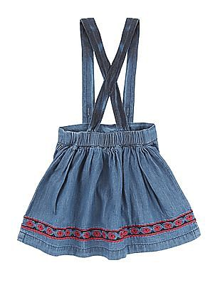 Donuts Girls Chambray Skirt With Suspenders