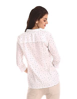 Cherokee White Three Quarter Sleeve Printed Shirt