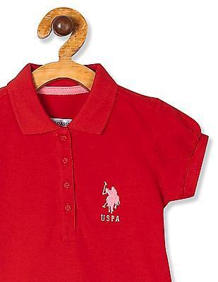 U.S. Polo Assn. Kids Red Girls Puff Sleeve Pique Polo Shirt