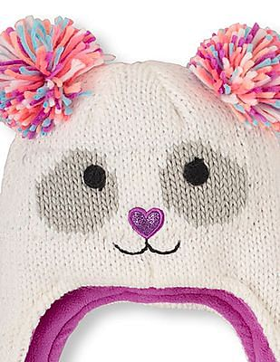 The Children's Place Girls Shimmery Panda Pom Pom Hat
