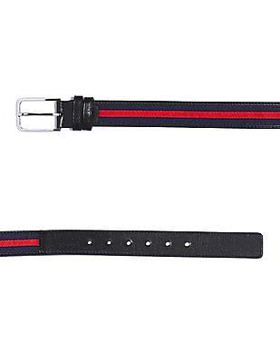 Colt Blue Metallic Buckle Striped Panel Belt