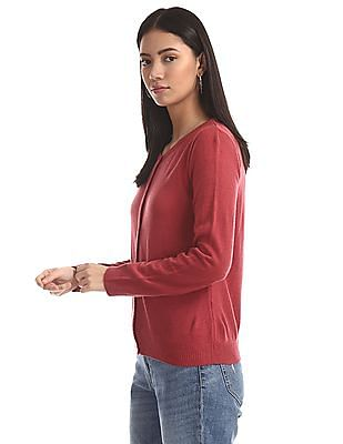Cherokee Pink Round Neck Solid Cardigan