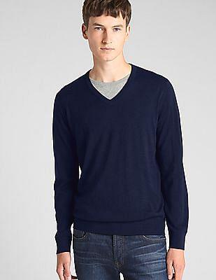 GAP Men Blue V-Neck Pullover Sweater In Merino Wool