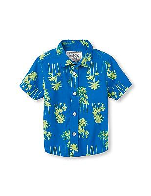 The Children's Place Toddler Boy Blue Short Sleeve Palm Tree Print Button-Down Poplin Shirt