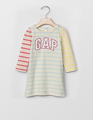 GAP Baby White Logo Colorblock Stripe Dress