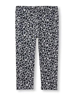 The Children's Place Girls Glitter Leopard Print Capri Leggings