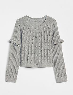 GAP Baby Grey Pointelle Ruffle Cardigan Sweater