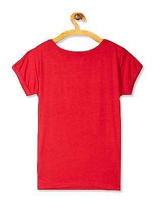 Flying Machine Women Red Printed Viscose Stretch T-Shirt