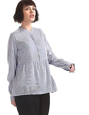 U.S. Polo Assn. Women Blue Concealed Placket Striped Top