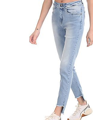 U.S. Polo Assn. Women Blue Frayed Hem Skinny Fit Jeans