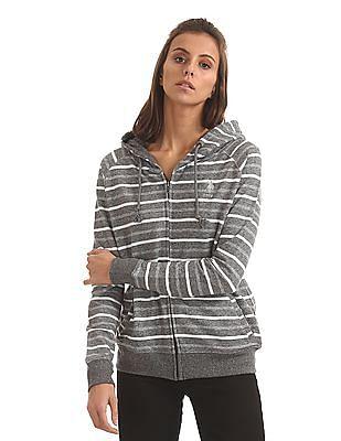 U.S. Polo Assn. Women Striped Zip Up Hooded Sweatshirt