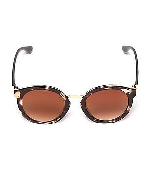 SUGR Brown Tortoise Shell Round Sunglasses