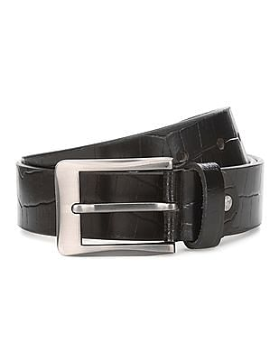 Excalibur Croc Textured Leather Belt