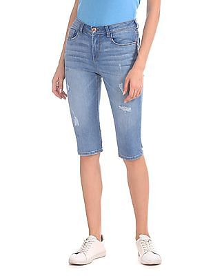 Flying Machine Women Stone Wash Capri Jeans