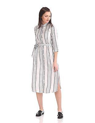 U.S. Polo Assn. Women Belted Shirt Dress