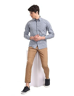 Cherokee Brown Slim Fit Panelled Trousers
